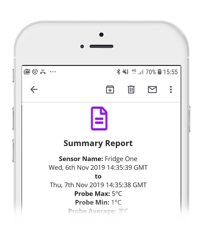 Wireless Alert Temperature Summary Report Email